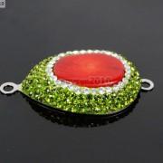 Druzy-Quartz-Gemstone-Crystal-Rhinestone-Connector-Charm-Bead-Silver-Plated-New-261590726280-c87d