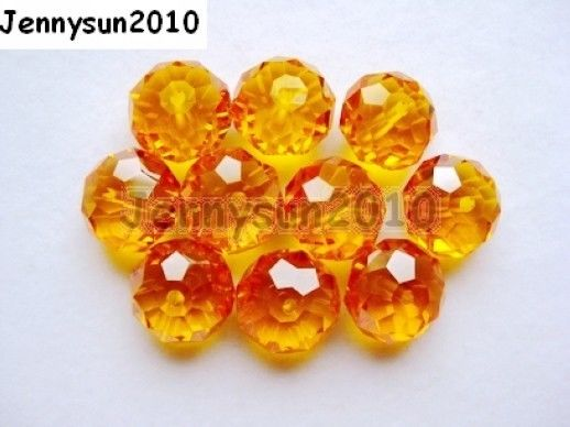 Freeshipping 100Pcs Top Quality Czech Crystal Faceted Rondelle Beads 9x 12mm