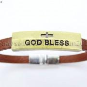 GOD-BLESS-Cross-Antique-Bronze-Leather-Wristband-Magnetic-Cuff-Bangle-Bracelet-262024487664-2