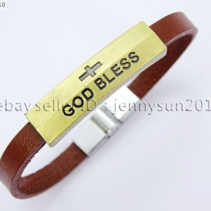 GOD-BLESS-Cross-Antique-Bronze-Leather-Wristband-Magnetic-Cuff-Bangle-Bracelet-262024487664