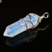 Gemstone-Hexagonal-Pointed-Reiki-Chakra-Wire-Wrap-Pendant-Silver-Chain-Necklace-281486321423-cc36