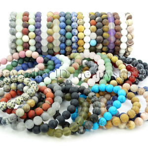 Handmade-10mm-Matte-Frosted-Natural-Gemstones-Round-Beads-Stretchy-Bracelet-371748654789