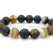 Handmade-12mm-Matte-Frosted-Natural-Gemstones-Round-Beads-Stretchy-Bracelet-371802863865-0d22