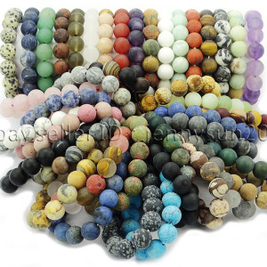 Handmade-12mm-Matte-Frosted-Natural-Gemstones-Round-Beads-Stretchy-Bracelet-371802863865