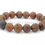 Handmade-12mm-Matte-Frosted-Natural-Gemstones-Round-Beads-Stretchy-Bracelet-371802863865-3dc3