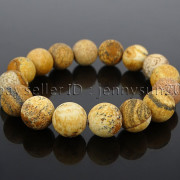 Handmade-12mm-Matte-Frosted-Natural-Gemstones-Round-Beads-Stretchy-Bracelet-371802863865-55a2