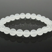 Handmade-8mm-Matte-Frosted-Natural-Gemstone-Round-Bead-Stretchy-Bracelet-Healing-262645680526-6a9f