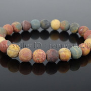 Handmade-8mm-Matte-Frosted-Natural-Gemstone-Round-Bead-Stretchy-Bracelet-Healing-262645680526-b76e