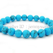 Handmade-8mm-Matte-Frosted-Natural-Gemstone-Round-Bead-Stretchy-Bracelet-Healing-262645680526-bdb9