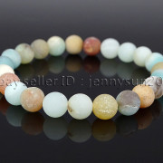 Handmade-8mm-Matte-Frosted-Natural-Gemstone-Round-Bead-Stretchy-Bracelet-Healing-262645680526-d3ae