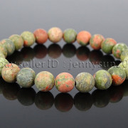 Handmade-8mm-Matte-Frosted-Natural-Gemstone-Round-Bead-Stretchy-Bracelet-Healing-262645680526-dbf7