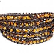 Handmade-Natural-Grade-AAA-Tiger039s-Eye-Gemstone-Beads-Wrap-Leather-Bracelet-281324380807-198f