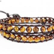 Handmade-Natural-Grade-AAA-Tiger039s-Eye-Gemstone-Beads-Wrap-Leather-Bracelet-281324380807-2026