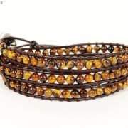Handmade-Natural-Grade-AAA-Tiger039s-Eye-Gemstone-Beads-Wrap-Leather-Bracelet-281324380807-3c0c