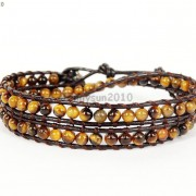 Handmade-Natural-Grade-AAA-Tiger039s-Eye-Gemstone-Beads-Wrap-Leather-Bracelet-281324380807-57ec
