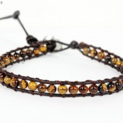 Handmade-Natural-Grade-AAA-Tiger039s-Eye-Gemstone-Beads-Wrap-Leather-Bracelet-281324380807-a581