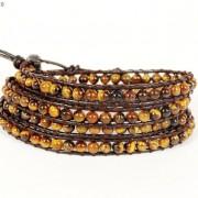 Handmade-Natural-Grade-AAA-Tiger039s-Eye-Gemstone-Beads-Wrap-Leather-Bracelet-281324380807-d3ce