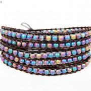 Handmade-Natural-Hematite-Gemstone-Beads-Wrap-Leather-Bracelet-Black-Silver-Gold-281351855358-0231