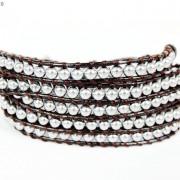 Handmade-Natural-Hematite-Gemstone-Beads-Wrap-Leather-Bracelet-Black-Silver-Gold-281351855358-050d