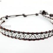 Handmade-Natural-Hematite-Gemstone-Beads-Wrap-Leather-Bracelet-Black-Silver-Gold-281351855358-0608