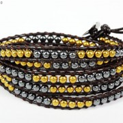 Handmade-Natural-Hematite-Gemstone-Beads-Wrap-Leather-Bracelet-Black-Silver-Gold-281351855358-0c52