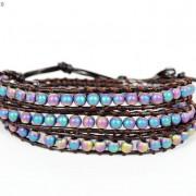 Handmade-Natural-Hematite-Gemstone-Beads-Wrap-Leather-Bracelet-Black-Silver-Gold-281351855358-10a9