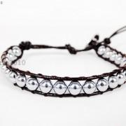 Handmade-Natural-Hematite-Gemstone-Beads-Wrap-Leather-Bracelet-Black-Silver-Gold-281351855358-12e3