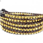 Handmade-Natural-Hematite-Gemstone-Beads-Wrap-Leather-Bracelet-Black-Silver-Gold-281351855358-14d8