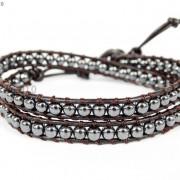 Handmade-Natural-Hematite-Gemstone-Beads-Wrap-Leather-Bracelet-Black-Silver-Gold-281351855358-158c