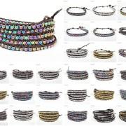 Handmade-Natural-Hematite-Gemstone-Beads-Wrap-Leather-Bracelet-Black-Silver-Gold-281351855358
