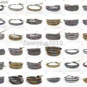 Handmade-Natural-Hematite-Gemstone-Beads-Wrap-Leather-Bracelet-Black-Silver-Gold-281351855358-2