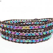 Handmade-Natural-Hematite-Gemstone-Beads-Wrap-Leather-Bracelet-Black-Silver-Gold-281351855358-20b6