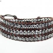 Handmade-Natural-Hematite-Gemstone-Beads-Wrap-Leather-Bracelet-Black-Silver-Gold-281351855358-276b