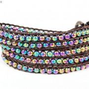 Handmade-Natural-Hematite-Gemstone-Beads-Wrap-Leather-Bracelet-Black-Silver-Gold-281351855358-3f57