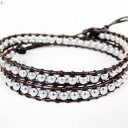 Handmade-Natural-Hematite-Gemstone-Beads-Wrap-Leather-Bracelet-Black-Silver-Gold-281351855358-4d03