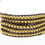Handmade-Natural-Hematite-Gemstone-Beads-Wrap-Leather-Bracelet-Black-Silver-Gold-281351855358-5254