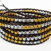 Handmade-Natural-Hematite-Gemstone-Beads-Wrap-Leather-Bracelet-Black-Silver-Gold-281351855358-589f