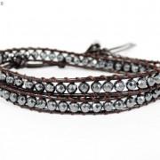 Handmade-Natural-Hematite-Gemstone-Beads-Wrap-Leather-Bracelet-Black-Silver-Gold-281351855358-5ade