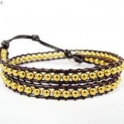 Handmade-Natural-Hematite-Gemstone-Beads-Wrap-Leather-Bracelet-Black-Silver-Gold-281351855358-5aef