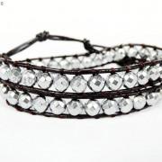 Handmade-Natural-Hematite-Gemstone-Beads-Wrap-Leather-Bracelet-Black-Silver-Gold-281351855358-60ca