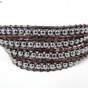 Handmade-Natural-Hematite-Gemstone-Beads-Wrap-Leather-Bracelet-Black-Silver-Gold-281351855358-61d6