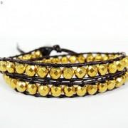 Handmade-Natural-Hematite-Gemstone-Beads-Wrap-Leather-Bracelet-Black-Silver-Gold-281351855358-6538