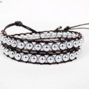 Handmade-Natural-Hematite-Gemstone-Beads-Wrap-Leather-Bracelet-Black-Silver-Gold-281351855358-691d