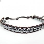 Handmade-Natural-Hematite-Gemstone-Beads-Wrap-Leather-Bracelet-Black-Silver-Gold-281351855358-6b8f