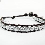 Handmade-Natural-Hematite-Gemstone-Beads-Wrap-Leather-Bracelet-Black-Silver-Gold-281351855358-700e