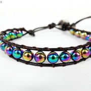 Handmade-Natural-Hematite-Gemstone-Beads-Wrap-Leather-Bracelet-Black-Silver-Gold-281351855358-72ef