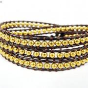Handmade-Natural-Hematite-Gemstone-Beads-Wrap-Leather-Bracelet-Black-Silver-Gold-281351855358-7490