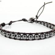 Handmade-Natural-Hematite-Gemstone-Beads-Wrap-Leather-Bracelet-Black-Silver-Gold-281351855358-74a3
