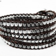 Handmade-Natural-Hematite-Gemstone-Beads-Wrap-Leather-Bracelet-Black-Silver-Gold-281351855358-75ac