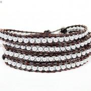 Handmade-Natural-Hematite-Gemstone-Beads-Wrap-Leather-Bracelet-Black-Silver-Gold-281351855358-7621